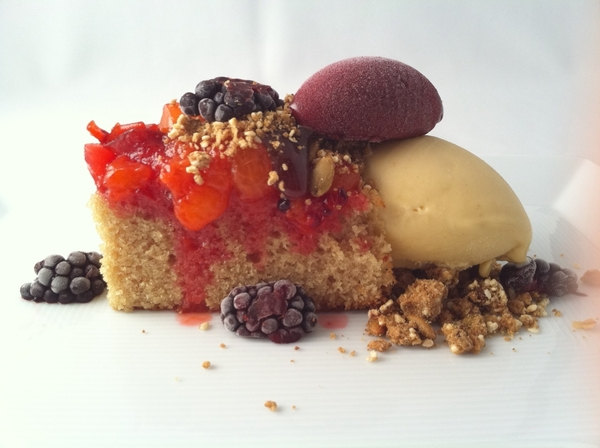 Another new dessert: Sabor a Palanqueta: pumpkinseed oil cake, palanqueta ice cream, local fruit, blackberry ice
