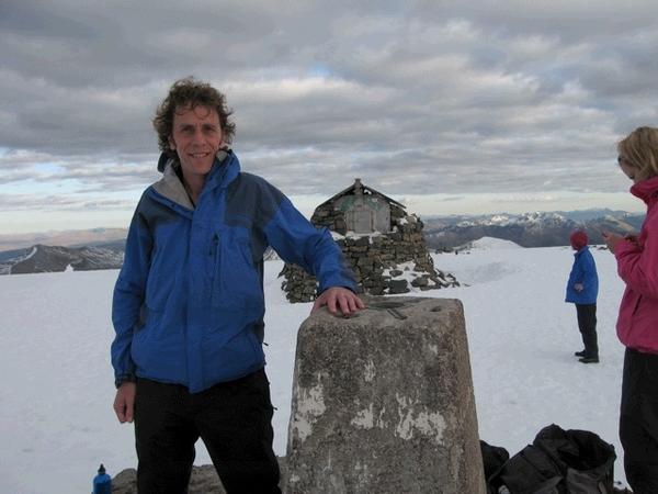 Mal at the summit trig point, Ben Nevis