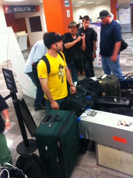 Yesterday: flew from La Paz to Tijuana. Man, does shooting TV take a lot of gear. This is about a third of it.