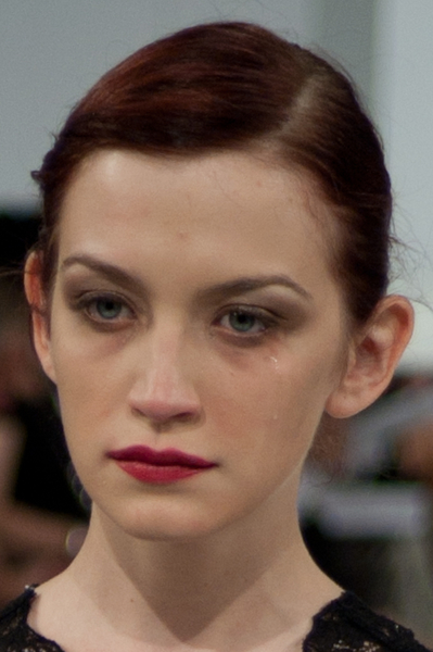 GFW model crying while walking down the runway
