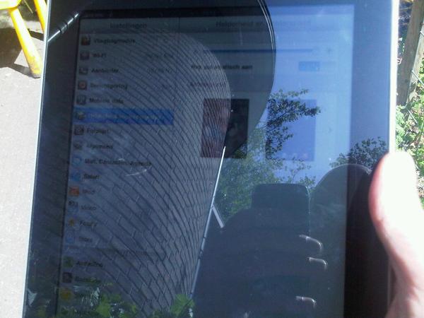 Tja @theomuys Dit is de ipad in de zon met maximale helderheid en zeer witte pagina
