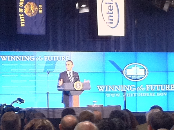 My photo of President Obama In Winning the Future at Intel