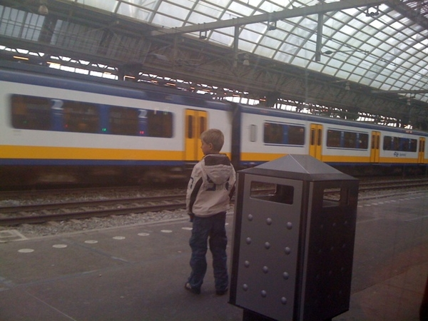 Watching trains on Amsterdam Central Station, son and I are off for 2 days