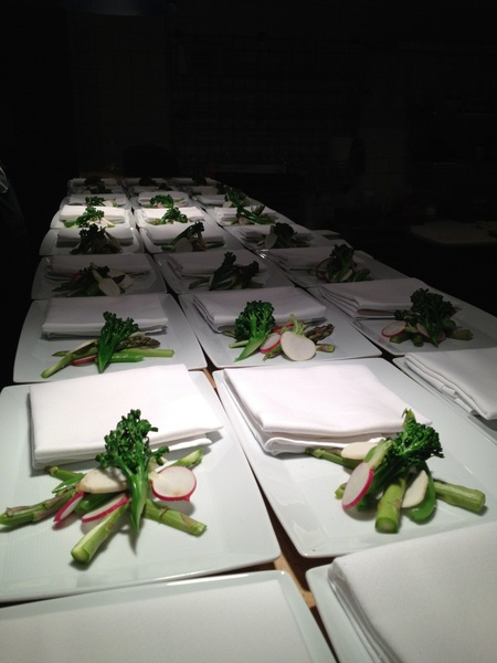 2nite's benefit dinner for FronteraFarmerFoundation: Alice Waters inspired veg w bagna cauda (bagna cauda not on plate)