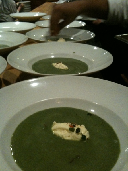 Frontera Farmer Foundation Dinner: second course: nettle soup with homemade ricotta and black garlic.