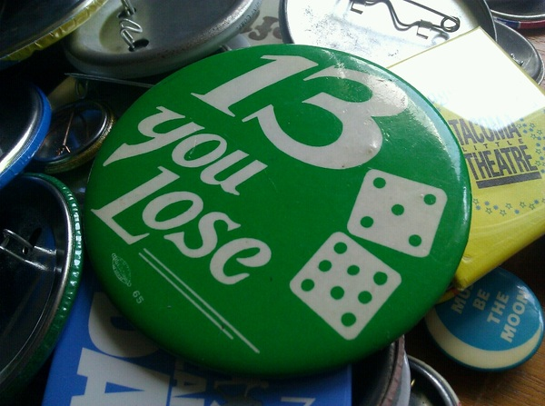 No on Prop 13 (CA) button found in parents' garage when I was a teenager. For @kegill
