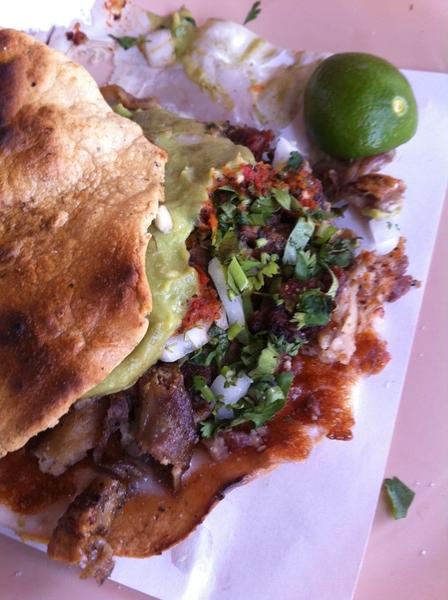 "Taco crawl #2: las Ahumaderas for vampiros (grilled tostada) ""campechano"": beef, chorizo, tripe, brisket"