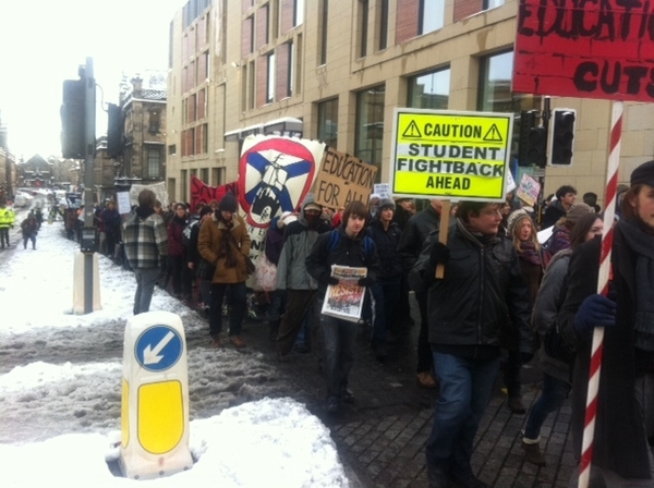 Student protest heads to Scottish Parliament.