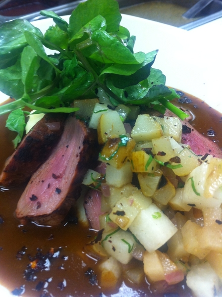 At Red O n LA: poss new menu item: woodgrilled duck w ancho-pear sauce,grld pera-jicama salsa,camote mash,wtrcress