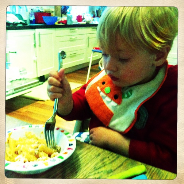 Fletcher of the day: little monster likes his pasta