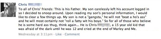 Wannabe gangsta leaves Facebook account logged on and his dad totally pwns him  @Dave98FM