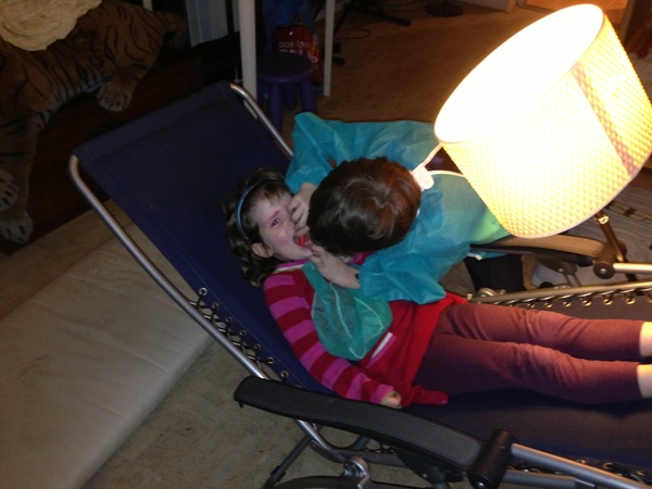 Vinz. (7) &Maria (4) playing dentist after going there last week
