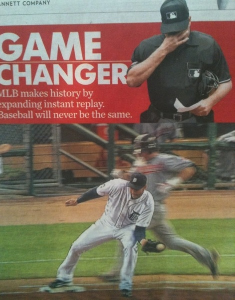 Love this @USATODAYsports headline: Game Changer: @MLB makes history by expanding instant replay.