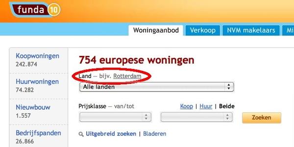 Funda heeft de status van Rotterdam toch niet helemaal scherp...