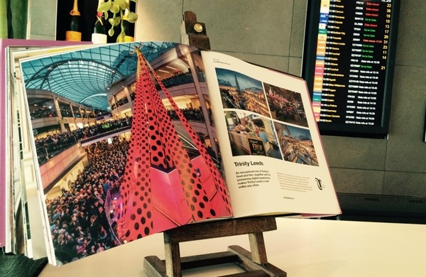 #CoolBrands 2014 book at @No1Traveller  @Gatwick_Airport, w' @TrinityLeeds open on desk (pic). @Inn_Tweets @LS_Retail