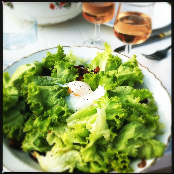 Dinner, salad lardons with a poached egg, made by @Dutchcowboy