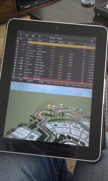Laatste stukje F1 volgen met de app erbij. Toch grappig!
