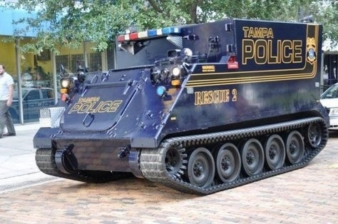 "Police get an APC for dangerous criminals at #OccupyTampa. ""bullet resistant..virtually unstoppable..can reach 60 mph."""
