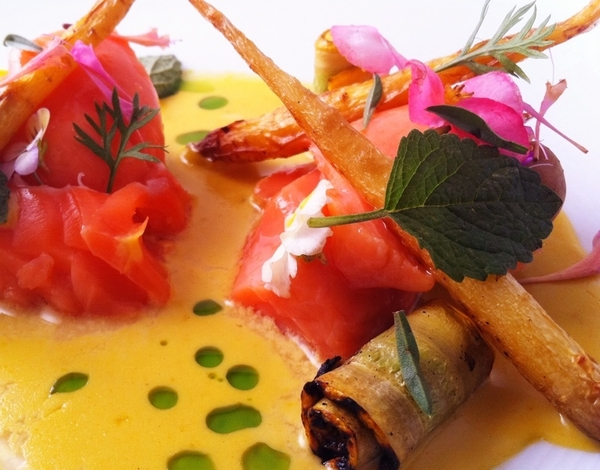 New Topolo menu hilites: slow-poached salmon, sq bloss-güero chile sauce, charred tatume&carrots, flowers, herbs