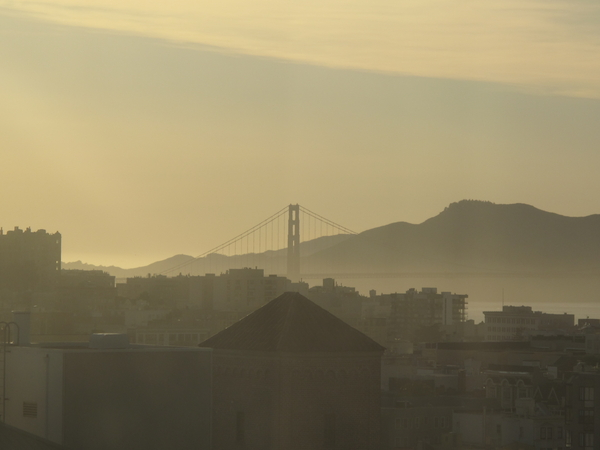 Golden Gate Bridge from Westin St. Francis Hotel in Union Square.