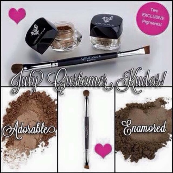 #younique July Kudos Two exclusive mineral pigments & brush! Beautybykimmykat.com