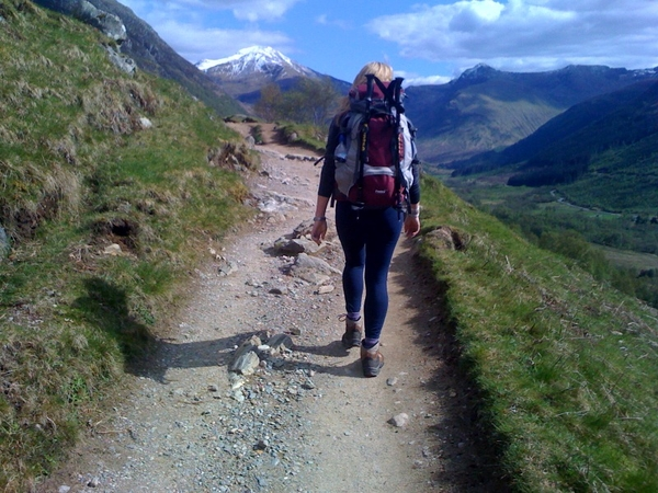 Nikki on track, half an hour up Ben Nevis
