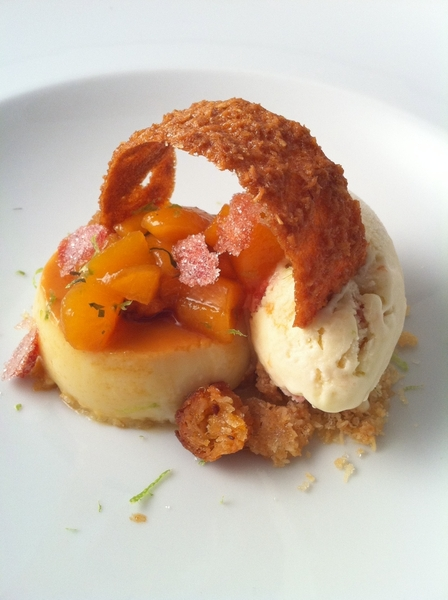 Tstng dessert: 4 flavors of coconut: flan, crisp cocada, chewy cocada, coconut-lemon verbena ice cream