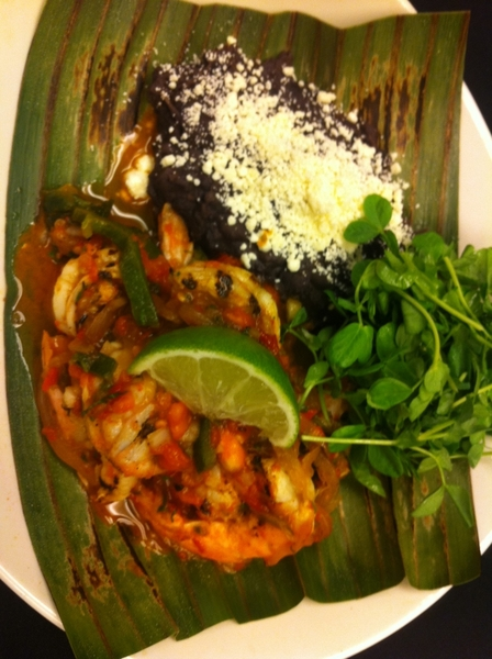 New Frontera menu possibilities: grilled shrimp a la Mexicana w local heirloom tomatoes, black beans.