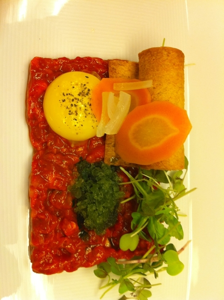 Possible new dish4next Topolo Adventr Menu: red chile beef tartare w yolk, hoja santa raspado, crouton, microgrns