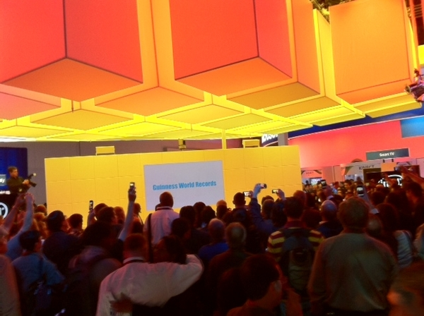 Watching world record being set by fastest guitarist Tiago Della Vega @Intel booth #CES