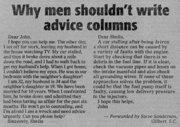 Why men shouldn't write advice columns lol