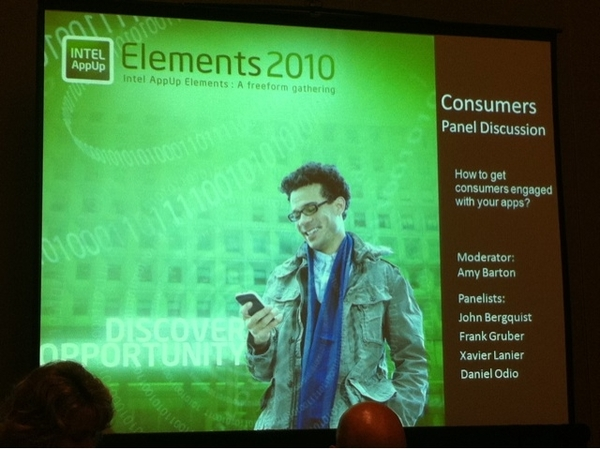 Intel AppUp panel on Consumer Tech and Apps @FrankGruber @drodio @JohnFlurry #elements10