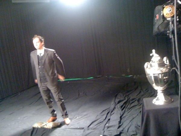 tournage  bande-annonce de la Coupe de France en présence de la Coupe.Sur la photo Lionel Charbonnier . #Eurosport