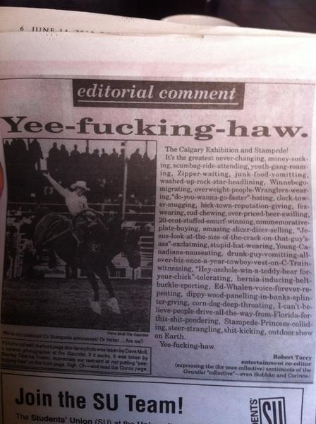 Yee-fucking-haw #mysentimentsexactly #stampede