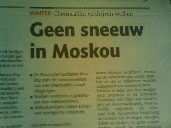 Geen sneeuw in Moskou