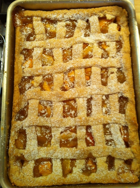 Rustic peach cobbler made from Red Havens from Klug Farm