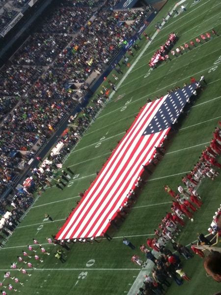 Pre-game USA flag ceremony at Qwest field today. #Seahawks #Cardinals #NFL