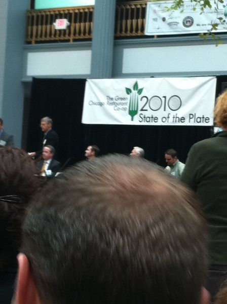 Green Chgo Restaurant Co-op's State of the Plate (sustainable meat roundtable) has drawn 100s! Gr8 info/discussion