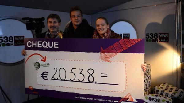 Theo Baten & Marian van t Root van @rodenborch #rosmalen hebben vanavond de cheque van €20.538,00 bij @538voorwarchild afgegeven
