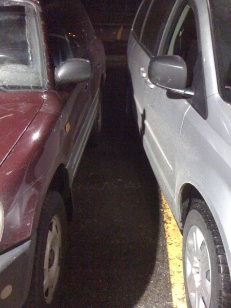 How to Be a Jackass (my car is the red one on the left).