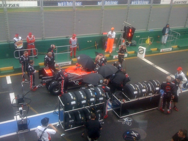 Tyres on timo's car. 2 mins before formation lap. We don't move until the start.