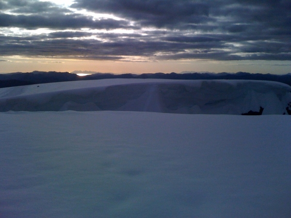Massive snow cornice at about Maclean's step