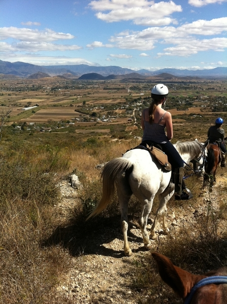Horseback riding: view from ridge top overlooking Tlacolula valley.