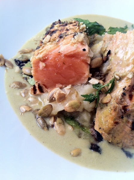 New Frontera Menu Highlight: grilled Alaskan salmon, green pumpkinseed mole, kohlrabi mash, grld tatume squash
