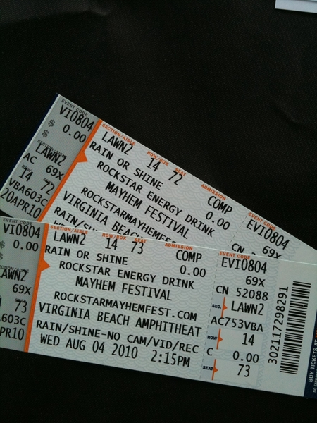 Mayhem Fest tix. Rob Zombie, Korn, Lamb of God go 2 next person at Audio Express (11201 Midlo)  who asks 4 'em.
