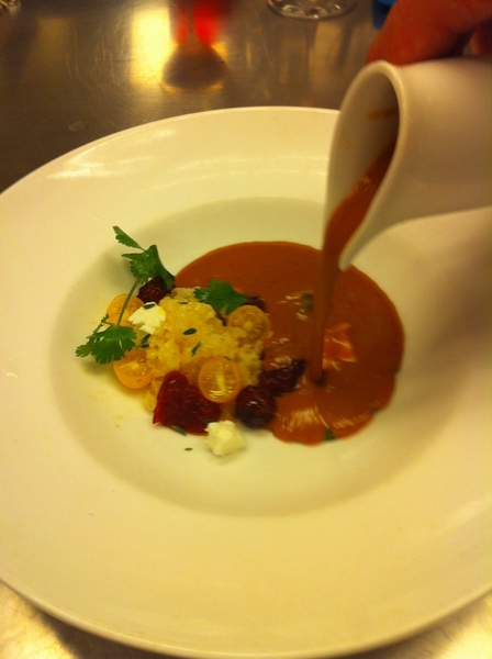 Poss dish4next Topolo Celebr Menu: tomato-sour cherry gazpacho w smkd almond raspado, goat chs, Galapagos tomatoes