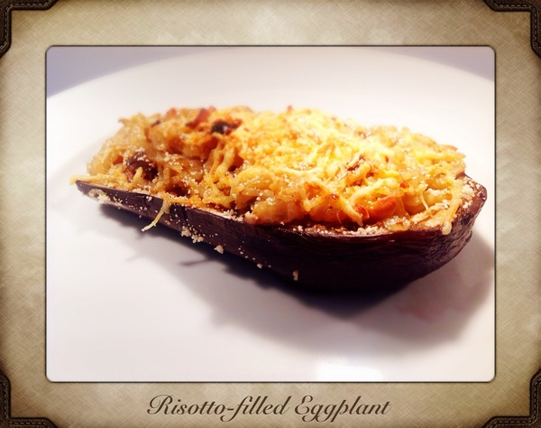 Dinner: Risotto-filled Eggplant with cheese.