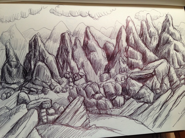 """Mysterious Mountains"" Black Biro on paper"