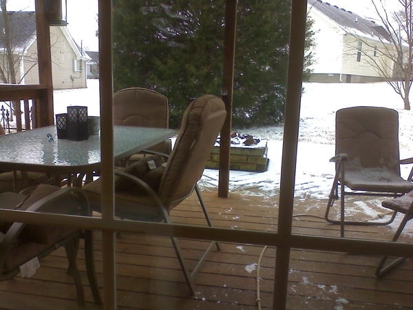 a cup of earl grey on the back patio  anyone?  i love snow.