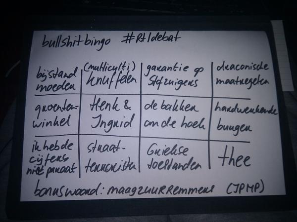 BINGO! U kunt dit gebruiken voor het volgende debat #bullshitbingo #rtldebat
